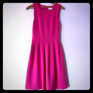 Calvin Klein Fit and Flare Pleated Dress Pink Sz 2